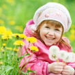 Stock Photo: Little child girl with spring dandelion