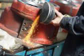 Close-up grinding process with power tool — Stock Photo