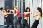 Healthy woman at fitness fighting training — Stock Photo