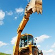 Excavator Loader with backhoe works — Stock Photo