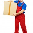 Delivery man courier with parcel cardboard box — Stock Photo
