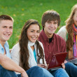Group of smiling young students outdoors — Stock Photo #8732315