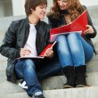 Two smiling young students studying outdoors — Stock Photo #8732759