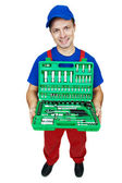 Automobile mechanic with Socket Wrench Set — Stock Photo