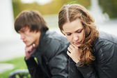 Ungt par i stress relation — Stockfoto