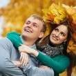 Couple at autumn outdoors — Stock Photo #8876105