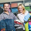 Young couple at clothes shopping — Stock Photo #8879481