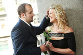 Man and girl on a date — Stock Photo