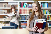 Young student girl study with books in library — Stock Photo