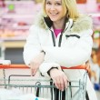 Stock Photo: Wommaking dairy shopping