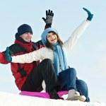 Grupo de jóvenes felices en invierno — Foto de Stock