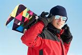 Snowboard ile mutlu sporcu — Stok fotoğraf