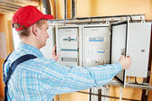 Electrician checking data — Stock Photo