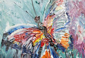 Closeup fragment of oil painting butterfly — Stock Photo