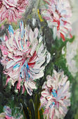 Closeup oil painting bouquet of peony flowers — Stock Photo