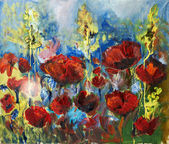 Oil painting picture of red spring poppy — Stock Photo