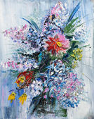 Oil painting bouquet of spring flowers — Stock Photo