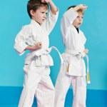 Постер, плакат: Two boys make karate exercises
