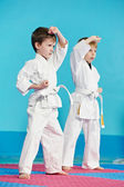Two boys make karate exercises — Stock Photo