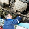 Auto mechanic at wheel alignment work with spanner - Stok fotoğraf