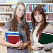 Young student girl study with books in library - Stock Photo