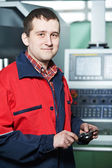 Worker with measuring hand caliper tool — Stock Photo