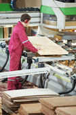 Closeup carpentry wood cross cutting — Stock Photo