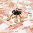 House keys and ready cash money - Stock Photo