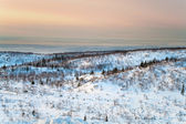 Polar night in mountains in northern tundra — Stock Photo
