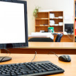Modern personal computer on desktop in office room — Stock Photo