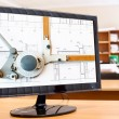 Stock Photo: Computer monitor with blueprints and drawing board picture on desktop