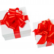 Two white pasteboard square gift boxes — Stock Photo