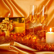New Year Christmas still life in golden tones — Stock Photo #8031178