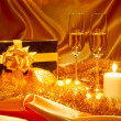 New Year Christmas still life in golden tones — Stock Photo #8031184