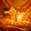 Stock Photo: New Year Christmas still life in golden tones