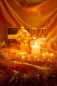 New Year Christmas still life in golden tones — Stock Photo