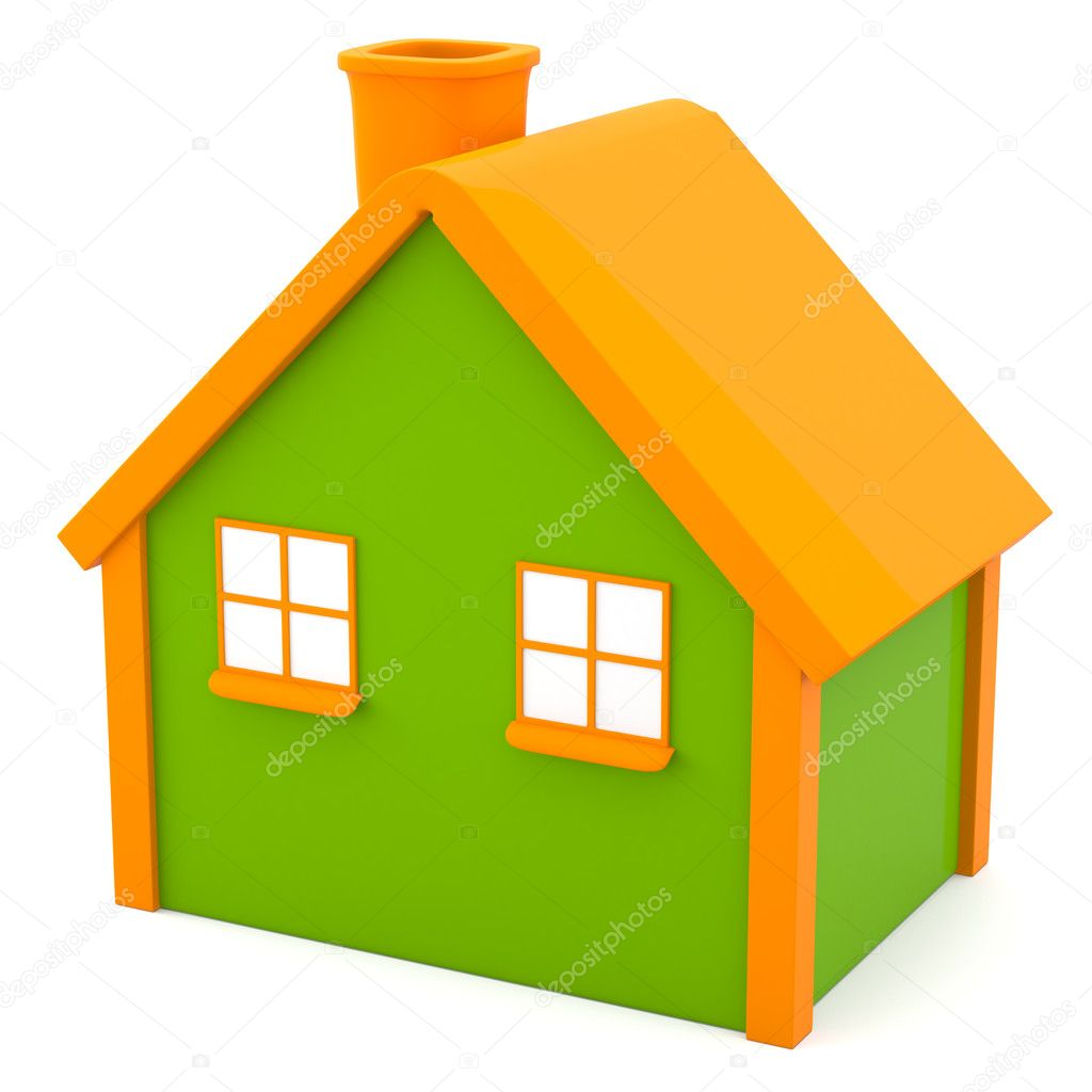 Cartoon-styled house isolated on white background — Stock Photo #10136107