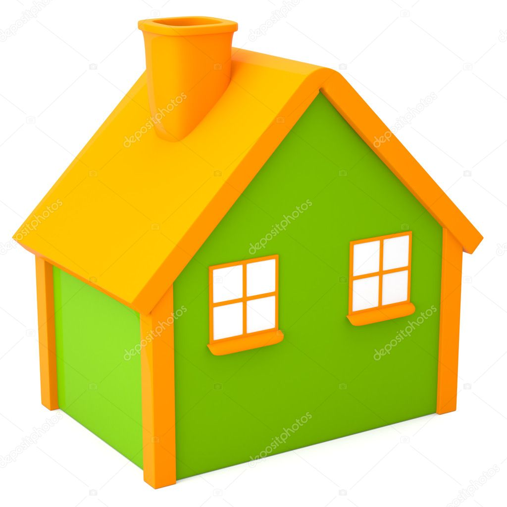 Cartoon-styled house isolated on white background — Stock Photo #10136133
