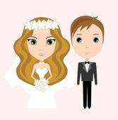 The bride and groom — Stock Vector