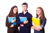 Glad tonåriga elever på vit — Stockfoto