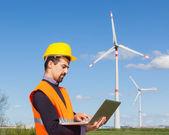 Technician Engineer in Wind Turbine Power Generator Station — Stock Photo