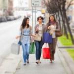 Three Beautiful Young Women doing Shopping — Stock Photo