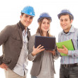 Engineers or Architects with Helmet on White Background — Stock Photo #10221471