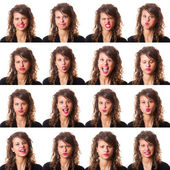 Pretty Young Woman Collection of Expressions — Stock Photo