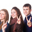 Teenage Students Making Victory or Peace Sign — Stock Photo