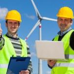 Technician Engineer in Wind Turbine Power Generator Station — Stock Photo #10257445
