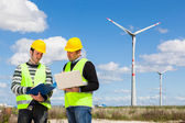 Two Engineers in a Wind Turbine Power Station — Foto de Stock