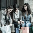 Happy Young Women after Shopping — Stock Photo