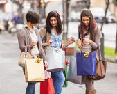 Three Beautiful Young Women with Shopping Bags — ストック写真