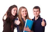 Tonåriga elever med tummen upp — Stockfoto